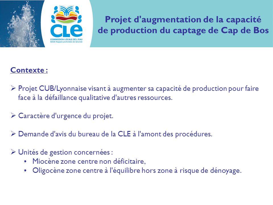 Projet d augmentation de la capacité de production du captage de Cap de Bos Contexte : Projet CUB/Lyonnaise visant à augmenter sa capacité de production pour faire face à la défaillance qualitative d autres ressources.