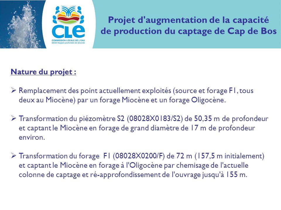 Projet d augmentation de la capacité de production du captage de Cap de Bos Nature du projet : Remplacement des point actuellement exploités (source et forage F1, tous deux au Miocène) par un forage Miocène et un forage Oligocène.