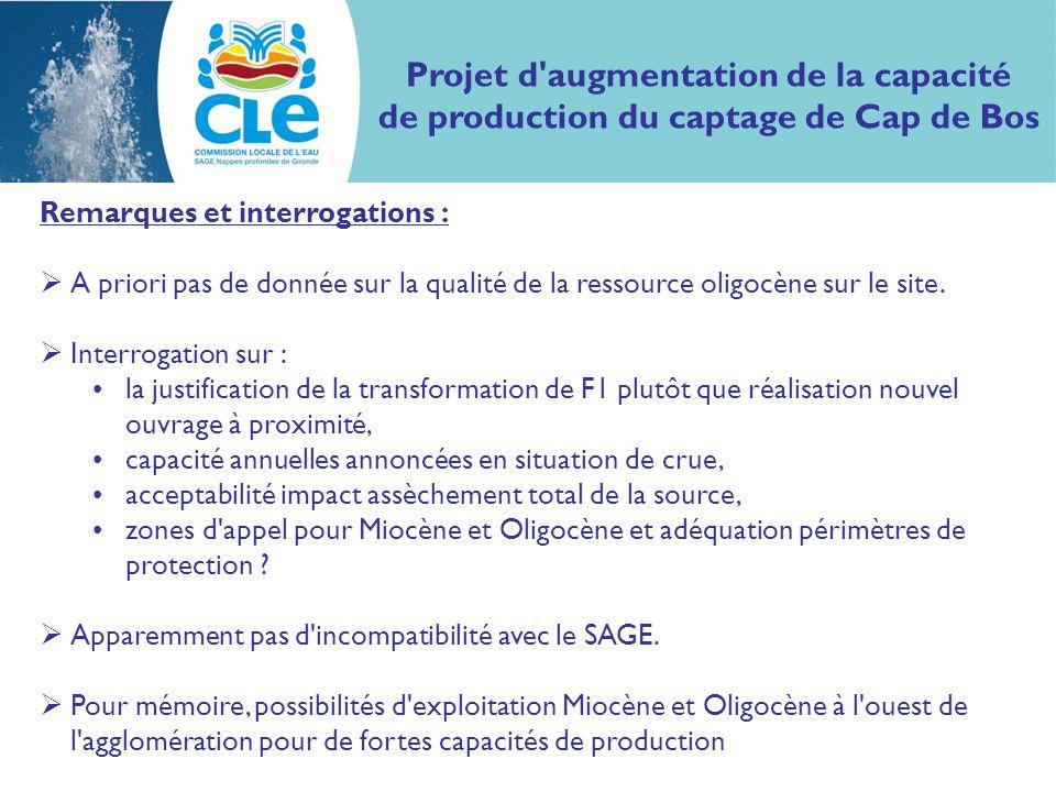 Projet d augmentation de la capacité de production du captage de Cap de Bos Remarques et interrogations : A priori pas de donnée sur la qualité de la ressource oligocène sur le site.
