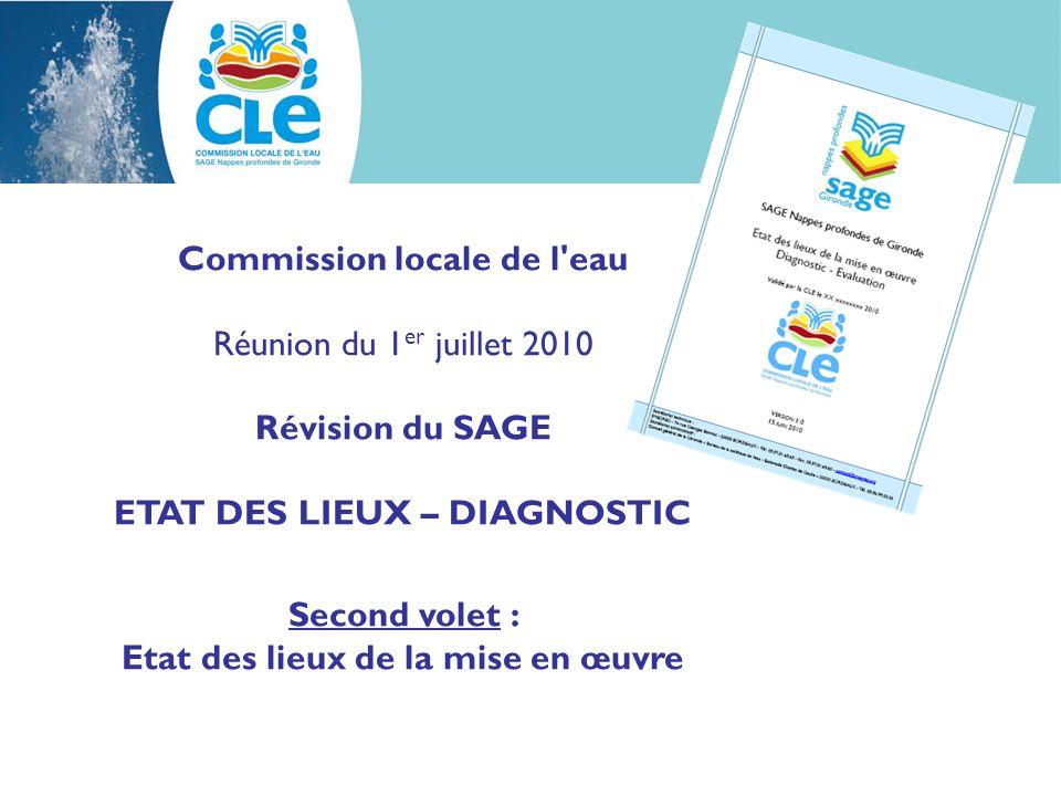 Commission locale de l eau Réunion du 1 er juillet 2010 Révision du SAGE ETAT DES LIEUX – DIAGNOSTIC Second volet : Etat des lieux de la mise en œuvre