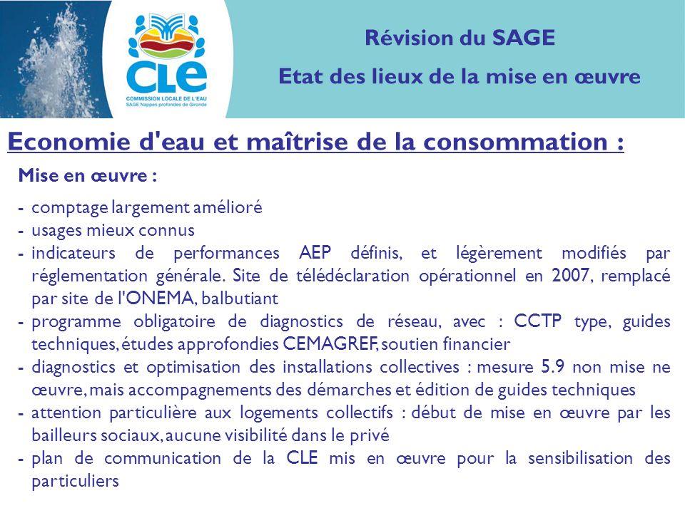 Mise en œuvre : -comptage largement amélioré -usages mieux connus -indicateurs de performances AEP définis, et légèrement modifiés par réglementation générale.