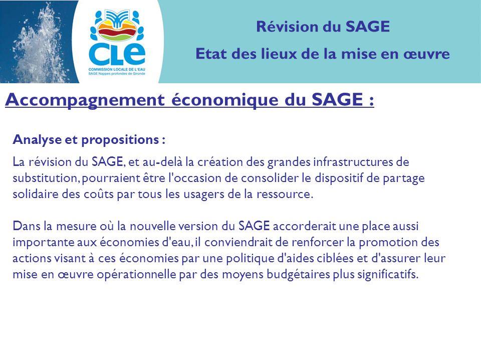 Analyse et propositions : La révision du SAGE, et au-delà la création des grandes infrastructures de substitution, pourraient être l occasion de consolider le dispositif de partage solidaire des coûts par tous les usagers de la ressource.