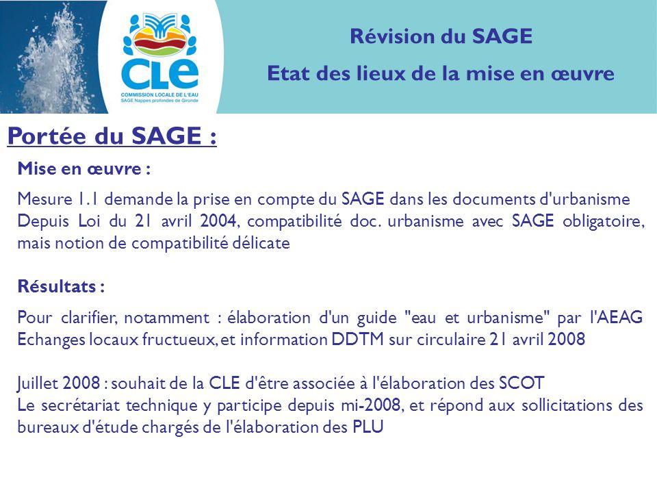 Mise en œuvre : Mesure 1.1 demande la prise en compte du SAGE dans les documents d urbanisme Depuis Loi du 21 avril 2004, compatibilité doc.