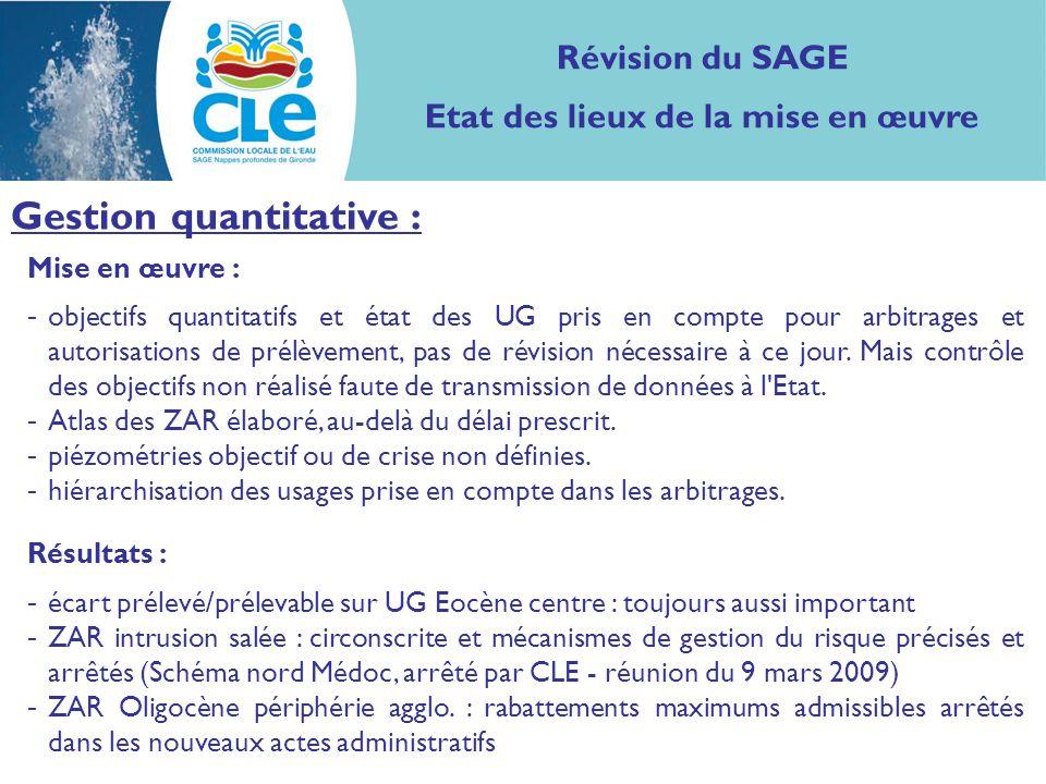 Mise en œuvre : - objectifs quantitatifs et état des UG pris en compte pour arbitrages et autorisations de prélèvement, pas de révision nécessaire à ce jour.