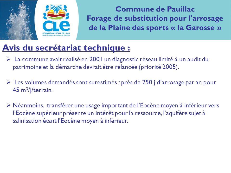 Avis du secrétariat technique : La commune avait réalisé en 2001 un diagnostic réseau limité à un audit du patrimoine et la démarche devrait être relancée (priorité 2005).