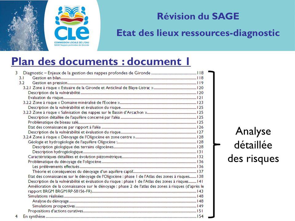 Plan des documents : document 1 Analyse détaillée des risques Révision du SAGE Etat des lieux ressources-diagnostic