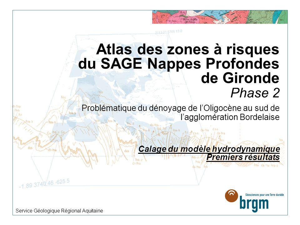 Atlas des zones à risques du SAGE Nappes Profondes de Gironde Phase 2 Problématique du dénoyage de lOligocène au sud de lagglomération Bordelaise Cala