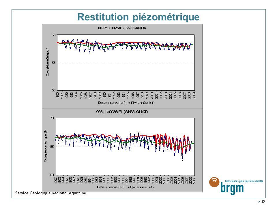 Service Géologique Régional Aquitaine > 12 Restitution piézométrique