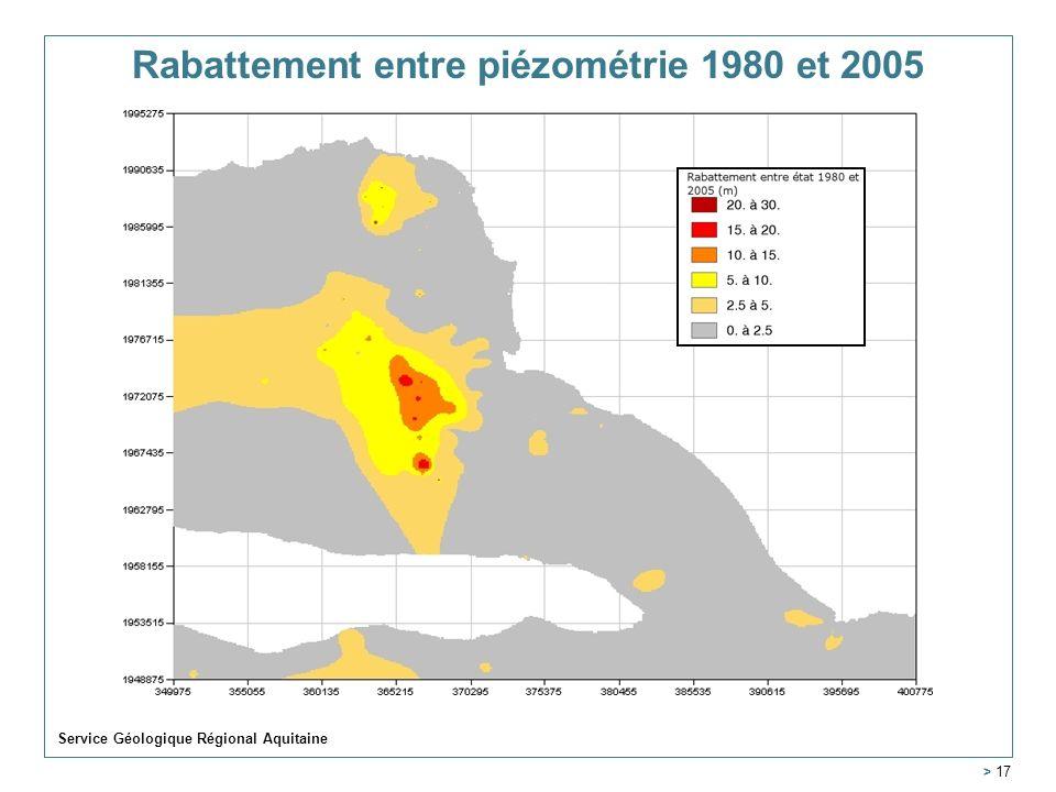 Service Géologique Régional Aquitaine > 17 Rabattement entre piézométrie 1980 et 2005
