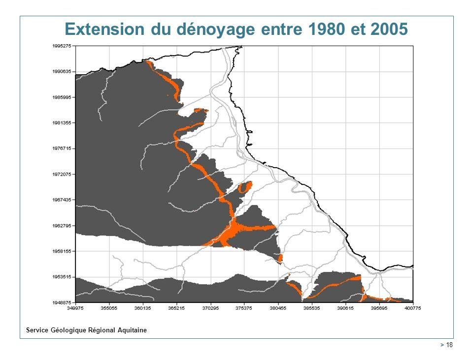Service Géologique Régional Aquitaine > 18 Extension du dénoyage entre 1980 et 2005