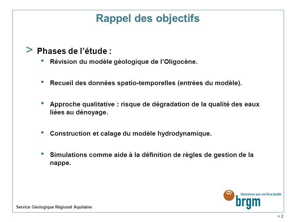 > 2 Rappel des objectifs > Phases de létude : Révision du modèle géologique de lOligocène. Recueil des données spatio-temporelles (entrées du modèle).