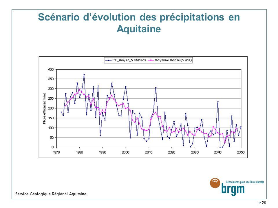 Service Géologique Régional Aquitaine > 20 Scénario dévolution des précipitations en Aquitaine