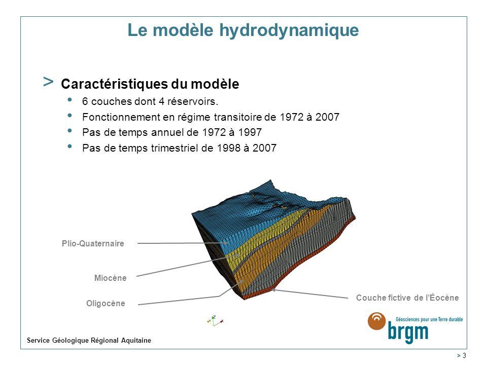 Service Géologique Régional Aquitaine > 3 Le modèle hydrodynamique > Caractéristiques du modèle 6 couches dont 4 réservoirs. Fonctionnement en régime