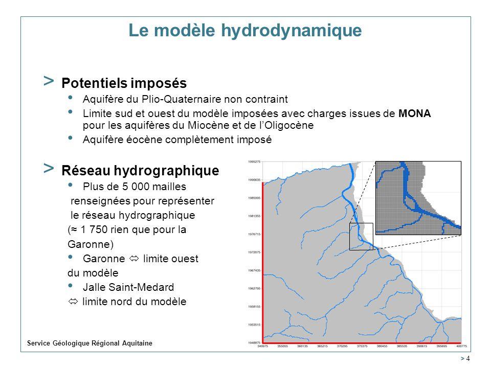 Service Géologique Régional Aquitaine > 4 Le modèle hydrodynamique > Potentiels imposés Aquifère du Plio-Quaternaire non contraint Limite sud et ouest