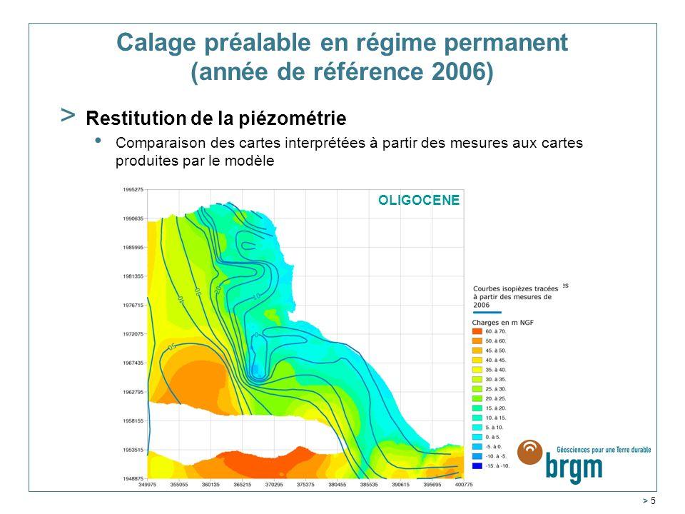 Service Géologique Régional Aquitaine > 5 MIOCENE OLIGOCENE Calage préalable en régime permanent (année de référence 2006) > Restitution de la piézomé