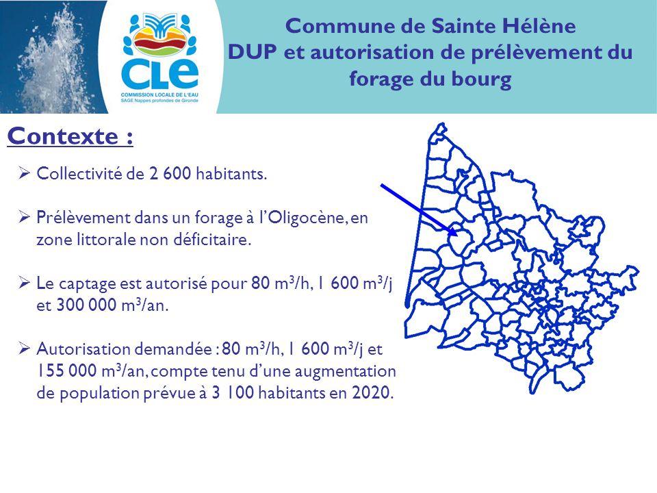 Contexte : Collectivité de 2 600 habitants. Prélèvement dans un forage à lOligocène, en zone littorale non déficitaire. Le captage est autorisé pour 8