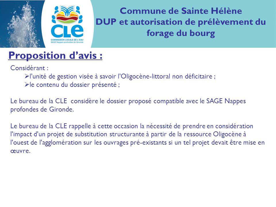 Proposition davis : Considérant : lunité de gestion visée à savoir lOligocène-littoral non déficitaire ; le contenu du dossier présenté ; Le bureau de