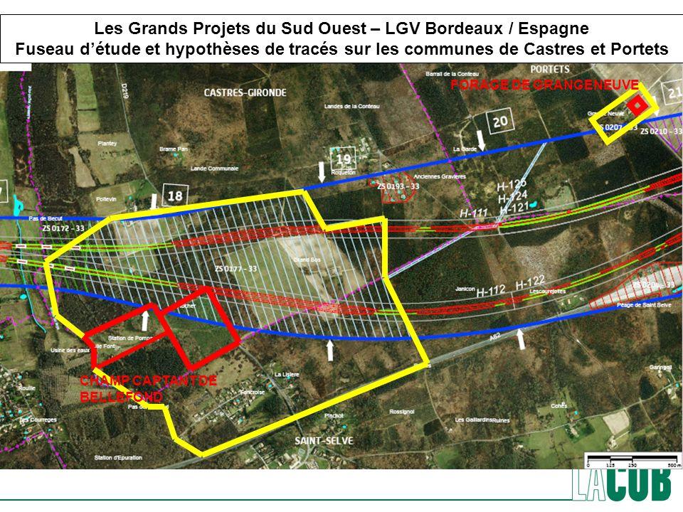 CHAMP CAPTANT DE BELLEFOND FORAGE DE GRANGENEUVE Les Grands Projets du Sud Ouest – LGV Bordeaux / Espagne Fuseau détude et hypothèses de tracés sur le