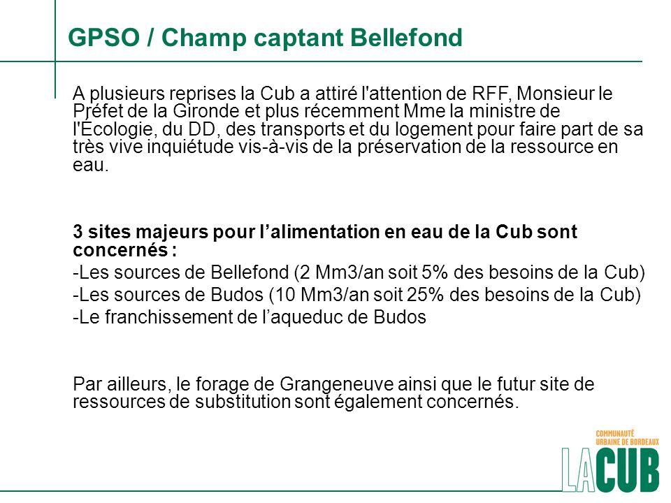GPSO / Champ captant Bellefond A plusieurs reprises la Cub a attiré l'attention de RFF, Monsieur le Préfet de la Gironde et plus récemment Mme la mini