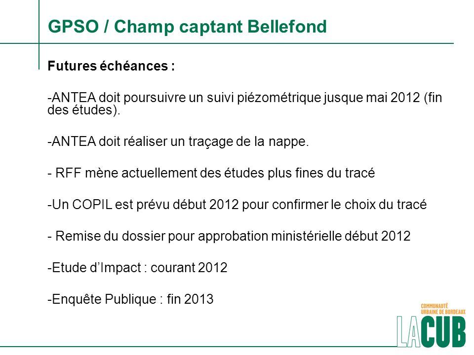 GPSO / Champ captant Bellefond Futures échéances : -ANTEA doit poursuivre un suivi piézométrique jusque mai 2012 (fin des études). -ANTEA doit réalise
