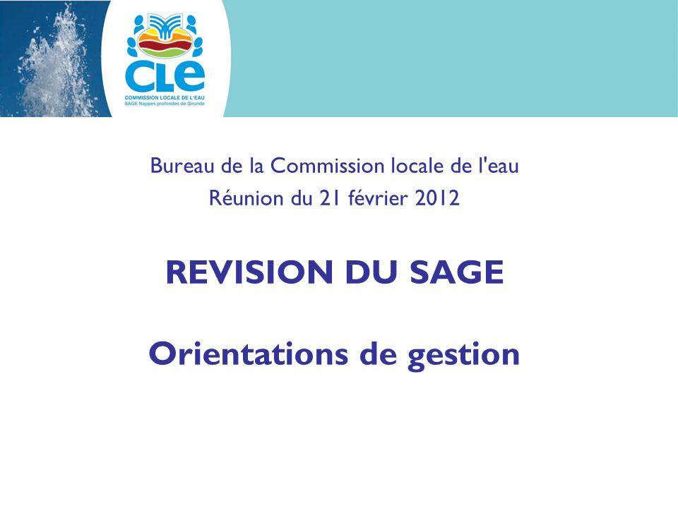 Bureau de la Commission locale de l eau Réunion du 21 février 2012 REVISION DU SAGE Orientations de gestion