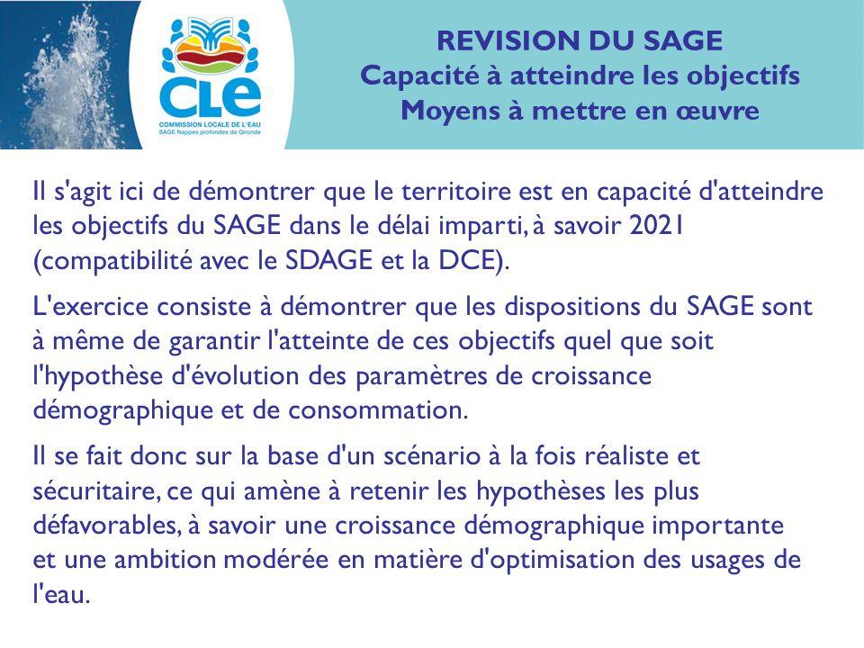 Il s agit ici de démontrer que le territoire est en capacité d atteindre les objectifs du SAGE dans le délai imparti, à savoir 2021 (compatibilité avec le SDAGE et la DCE).