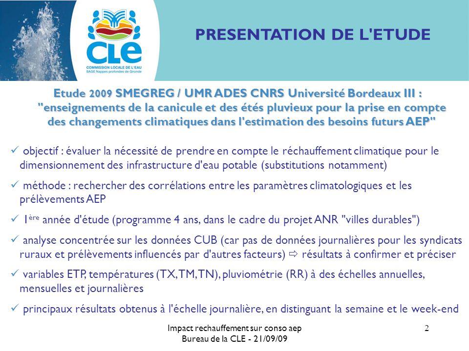 Impact rechauffement sur conso aep Bureau de la CLE - 21/09/09 2 PRESENTATION DE L'ETUDE Etude 2009 SMEGREG / UMR ADES CNRS Université Bordeaux III :