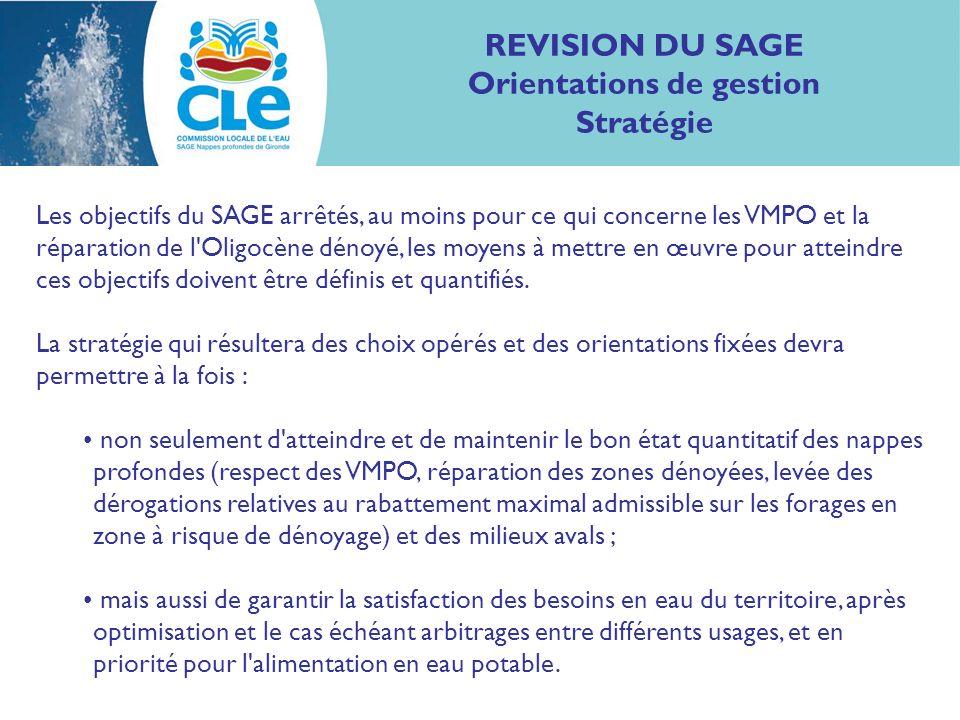 REVISION DU SAGE Orientations de gestion Stratégie Les objectifs du SAGE arrêtés, au moins pour ce qui concerne les VMPO et la réparation de l Oligocène dénoyé, les moyens à mettre en œuvre pour atteindre ces objectifs doivent être définis et quantifiés.