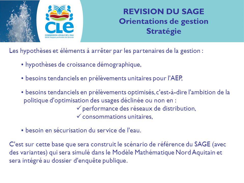 REVISION DU SAGE Orientations de gestion Stratégie Les hypothèses et éléments à arrêter par les partenaires de la gestion : hypothèses de croissance d