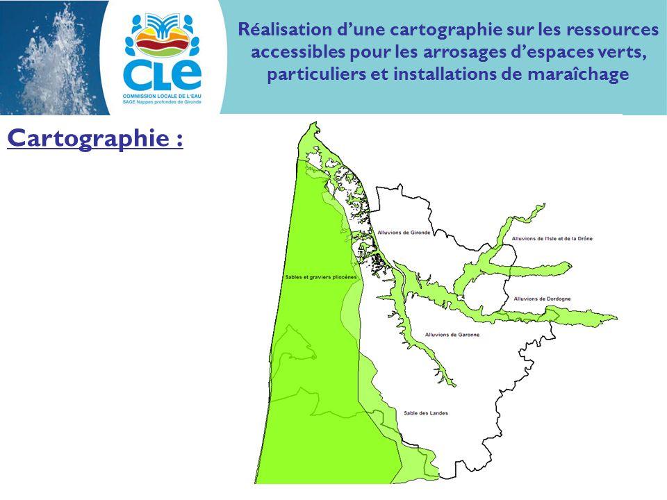 Principe : Réalisation dune cartographie sur les ressources accessibles pour les arrosages despaces verts, particuliers et installations de maraîchage
