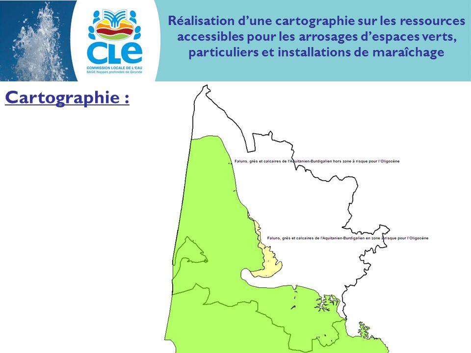 Cartographie : Réalisation dune cartographie sur les ressources accessibles pour les arrosages despaces verts, particuliers et installations de maraîchage