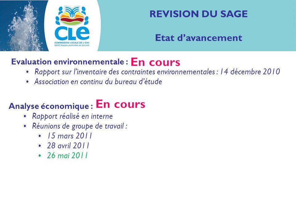 REVISION DU SAGE Etat davancement Evaluation environnementale : Rapport sur linventaire des contraintes environnementales : 14 décembre 2010 Associati
