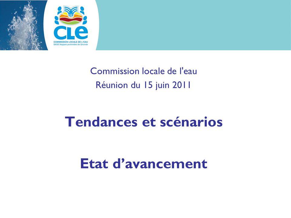 Commission locale de l'eau Réunion du 15 juin 2011 Tendances et scénarios Etat davancement