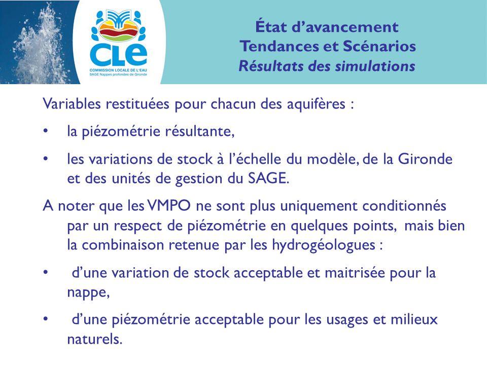 Variables restituées pour chacun des aquifères : la piézométrie résultante, les variations de stock à léchelle du modèle, de la Gironde et des unités