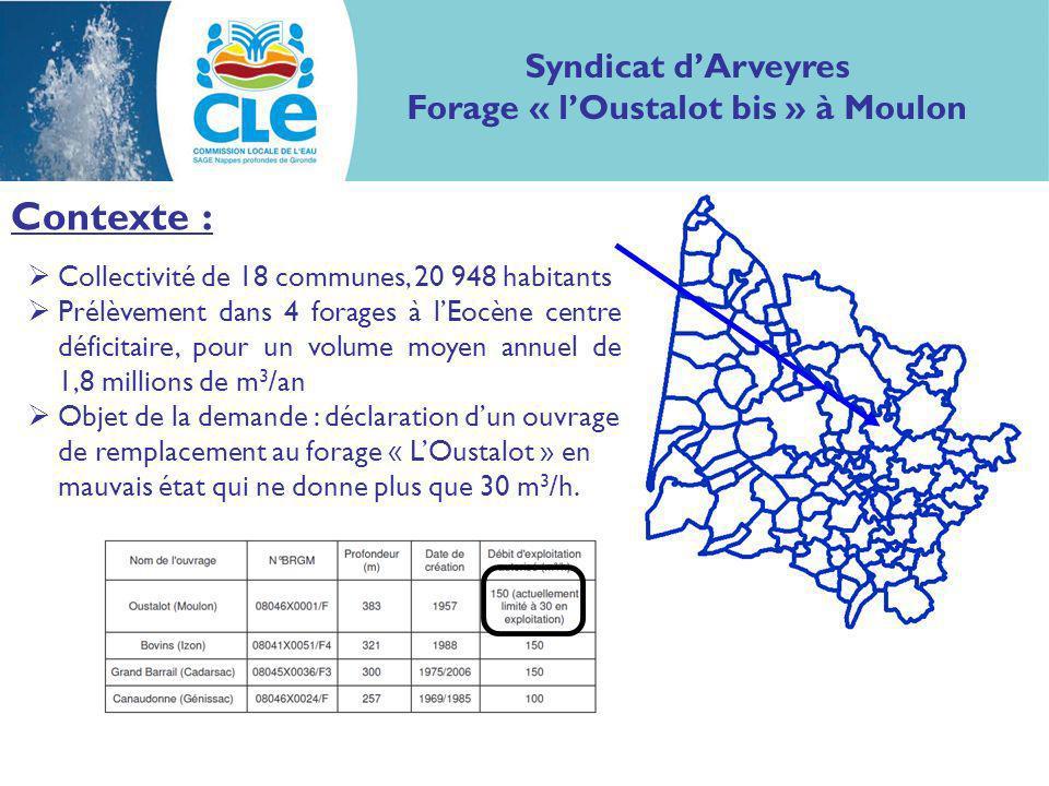 Avis de la CLE du 1 er juillet 2010 Syndicat dArveyres Forage « lOustalot bis » à Moulon