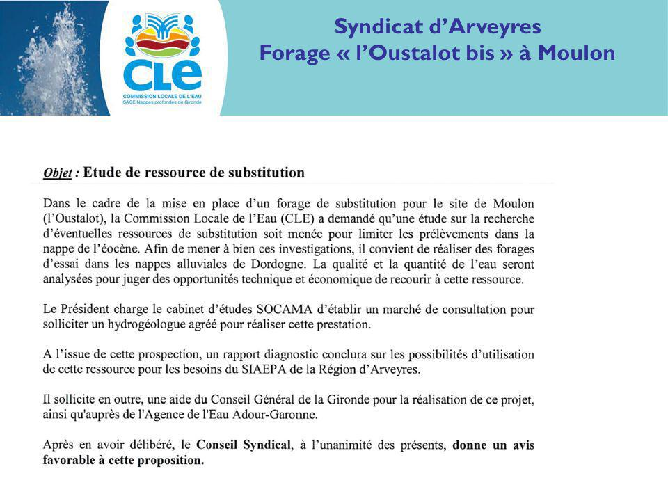 Syndicat dArveyres Forage « lOustalot bis » à Moulon