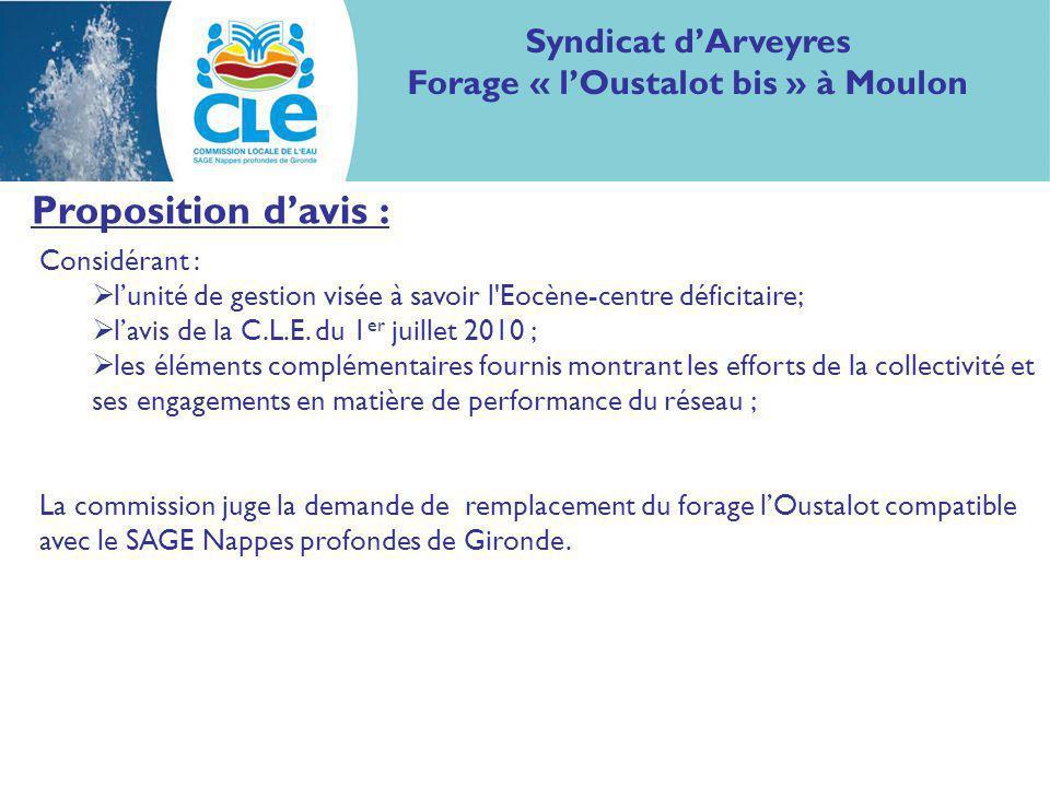 Proposition davis : Considérant : lunité de gestion visée à savoir l Eocène-centre déficitaire; lavis de la C.L.E.
