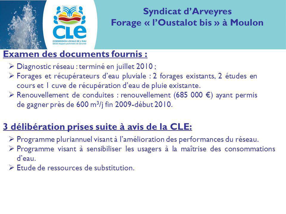 Examen des documents fournis : Syndicat dArveyres Forage « lOustalot bis » à Moulon Diagnostic réseau : terminé en juillet 2010 ; Forages et récupérateurs deau pluviale : 2 forages existants, 2 études en cours et 1 cuve de récupération deau de pluie existante.