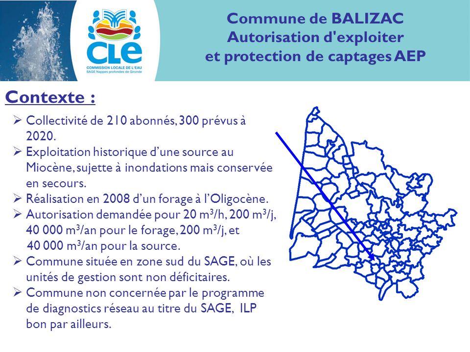 Contexte : Commune de BALIZAC Autorisation d exploiter et protection de captages AEP Collectivité de 210 abonnés, 300 prévus à 2020.