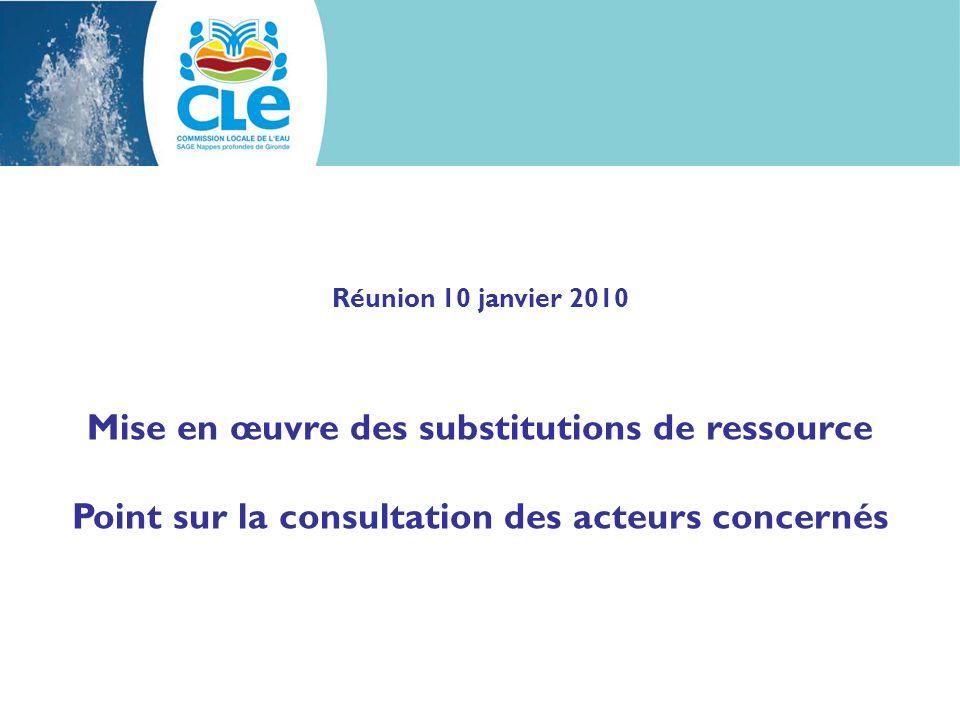 Réunion 10 janvier 2010 Mise en œuvre des substitutions de ressource Point sur la consultation des acteurs concernés