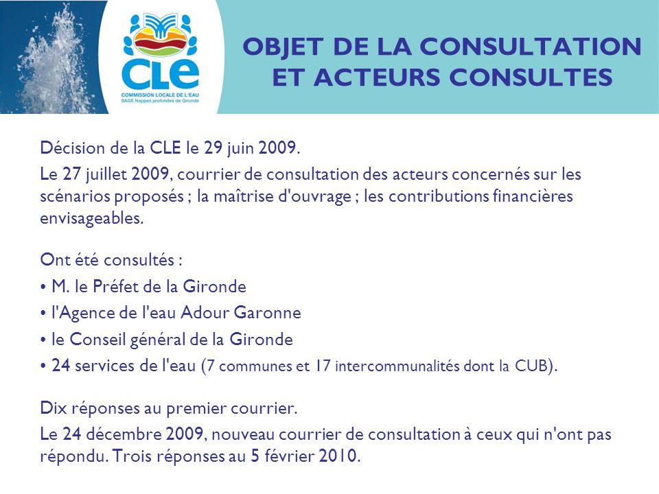 OBJET DE LA CONSULTATION ET ACTEURS CONSULTES Décision de la CLE le 29 juin 2009.