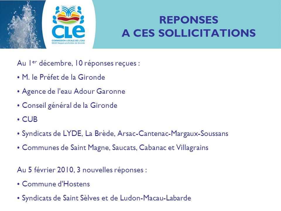 REPONSES A CES SOLLICITATIONS Au 1 er décembre, 10 réponses reçues : M.