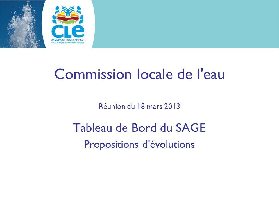 Commission locale de l eau Réunion du 18 mars 2013 Tableau de Bord du SAGE Propositions d évolutions
