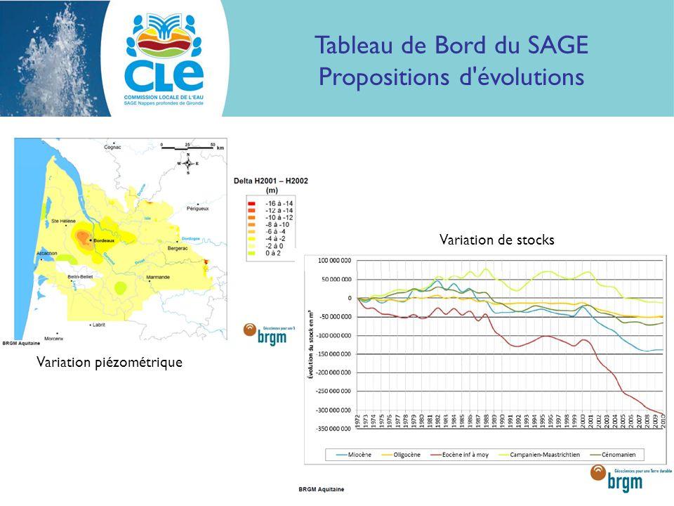 Tableau de Bord du SAGE Propositions d évolutions Variation piézométrique Variation de stocks