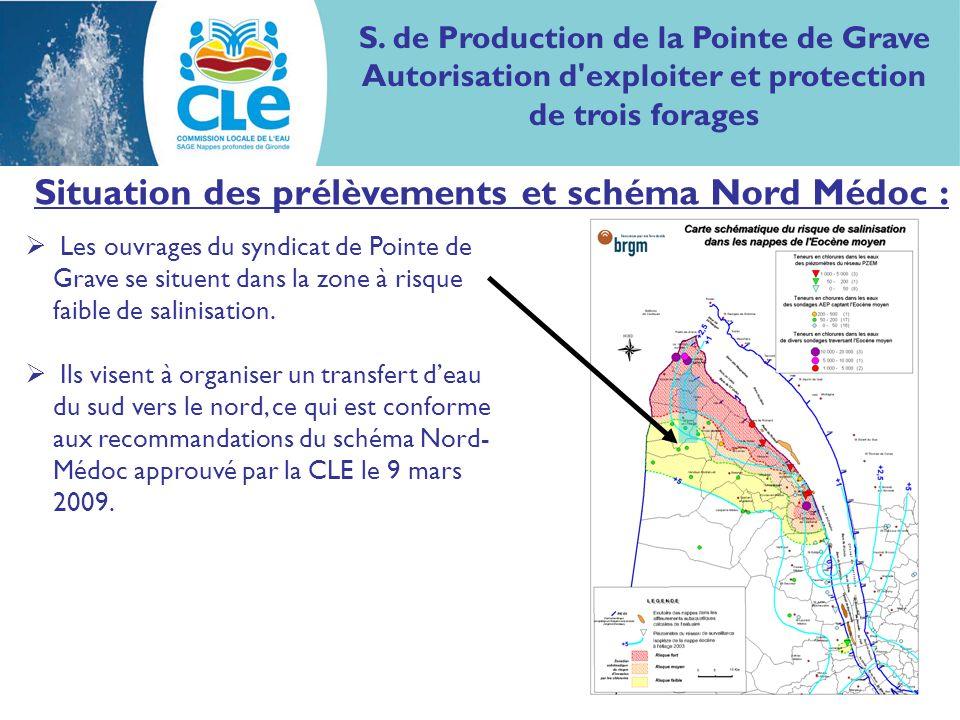 Situation des prélèvements et schéma Nord Médoc : Les ouvrages du syndicat de Pointe de Grave se situent dans la zone à risque faible de salinisation.