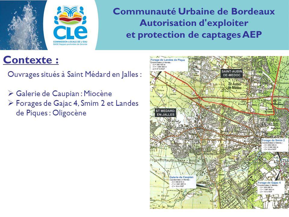 Contexte : Communauté Urbaine de Bordeaux Autorisation d'exploiter et protection de captages AEP Ouvrages situés à Saint Médard en Jalles : Galerie de