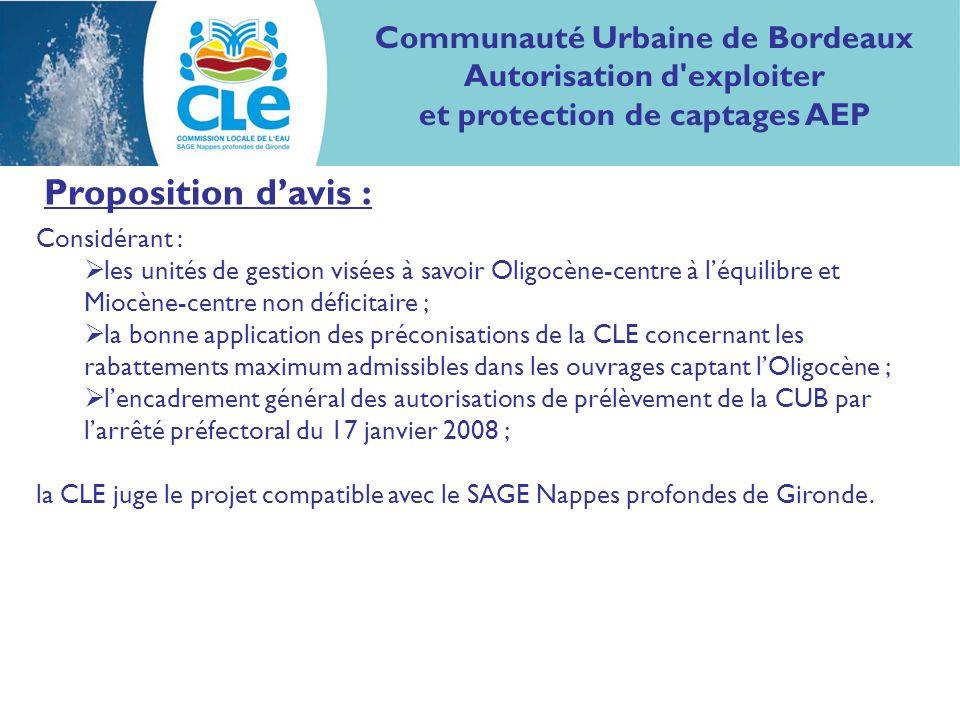 Proposition davis : Considérant : les unités de gestion visées à savoir Oligocène-centre à léquilibre et Miocène-centre non déficitaire ; la bonne application des préconisations de la CLE concernant les rabattements maximum admissibles dans les ouvrages captant lOligocène ; lencadrement général des autorisations de prélèvement de la CUB par larrêté préfectoral du 17 janvier 2008 ; la CLE juge le projet compatible avec le SAGE Nappes profondes de Gironde.