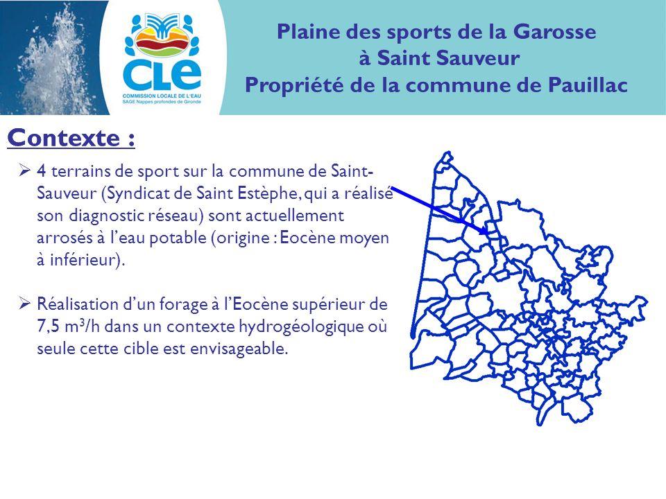 Contexte : Plaine des sports de la Garosse à Saint Sauveur Propriété de la commune de Pauillac Contexte : 4 terrains de sport sur la commune de Saint- Sauveur (Syndicat de Saint Estèphe, qui a réalisé son diagnostic réseau) sont actuellement arrosés à leau potable (origine : Eocène moyen à inférieur).