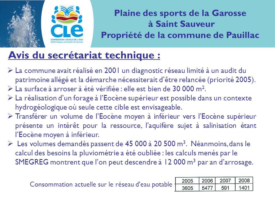 Avis du secrétariat technique : La commune avait réalisé en 2001 un diagnostic réseau limité à un audit du patrimoine allégé et la démarche nécessiterait dêtre relancée (priorité 2005).