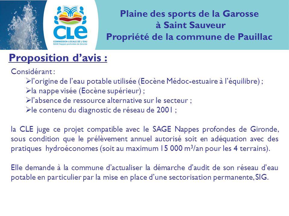 Proposition davis : Considérant : lorigine de leau potable utilisée (Eocène Médoc-estuaire à léquilibre) ; la nappe visée (Eocène supérieur) ; labsenc